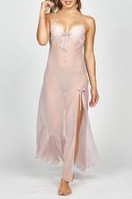 Soft Emrose Embroidered Lace & Chiffon long nightdress - Rose