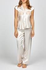 Elegant Embroidered Two piece short sleeve Satin Pyjama - Beige