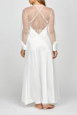 Aurora Bridal Satin & Pearl Lace Nightdress & Robe Set - White