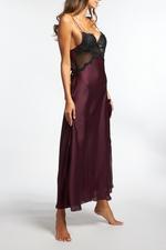 Silky Satin & Lace Long Nightdress - Bordeaux/Black