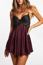 Silky Satin & Lace Short Nightdress with padded cups - Bordeaux/Black