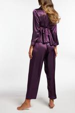 Silky Satin & Lace long Pyjamas - Aubergine