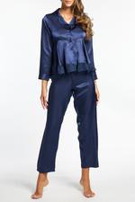 Silky Satin & Lace long Pyjamas - Navy Blue