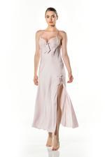 Silky Satin & Lace Long Nightdress - Pink