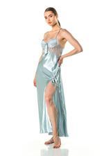Silky Satin & Lace Long Nightdress - Light Blue