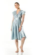 V Neckline Satin & Lace Midi Nightdress - Light Blue