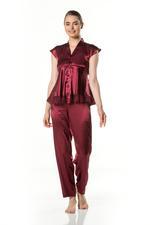 Elegant Embroidered Two piece short sleeve Satin Pyjama - Bordeaux