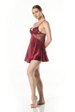 Lace & Satin Short Tulle Nightdress - Bordeaux
