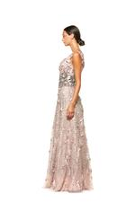 Beaded 3D Floral Gown with Full Skirt - Peach/Pink