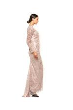 Fitted Gown with  Long Sleeves Beading & Feathers - Peach/Pink