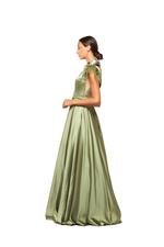 Satin Halterneck Beaded Gown - Green
