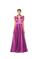 Satin Halterneck Beaded Gown - Lilac