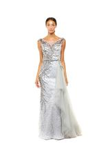 A-Line 3D Beaded Gown with Full Skirt - Peach/Pink