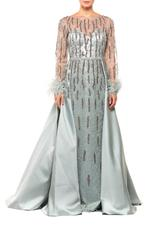 Fitted Beaded Gown with Satin Overskirt & feathers - Green