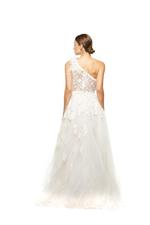 Fitted Floral Lace Gown with Feathers and Tulle Overskirt - Beige