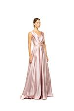 Crossover Satin Gown with beaded belt - Peach/Pink