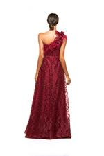 Lace One Shoulder Gown with Feathers & Pearls - Red