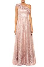 Lace One Shoulder Gown with Feathers & Pearls - Peach/Pink