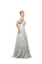 Satin & Tulle Gown - Silver