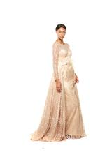 Criss-Cross Lace Gown with Long Sleeves, Petals, Pearls & Feathers - Beige
