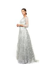 Criss-Cross Lace Gown with Long Sleeves, Petals, Pearls & Feathers - Grey
