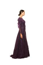 Long Sleeve gown with Lace & Petals & Feathers - Dark Purple