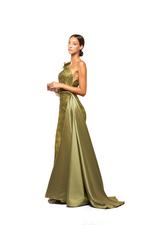 One Shoulder Long Sleeve gown with Pearls, Petals & Feathers - Green
