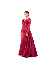 Overskirt Satin Gown with Long Sleeves- Red