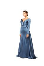 Overskirt Satin Gown with Long Sleeves- Blue