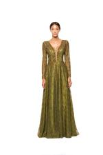 Long sleeve A-line Gown with Pearls - Green