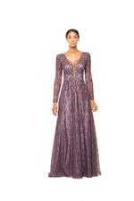 Long sleeve A-line Gown with Pearls - Lilac