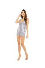 Satin & Lace 4 Piece Pyjama Set - Silver grey