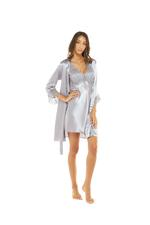 Satin & Lace Nightdress & Robe Set - Silver Grey