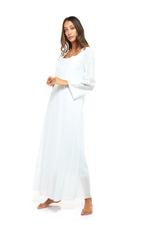 Long Voile Cotton Nightdress with Long Sleeves & embroidery - Mint