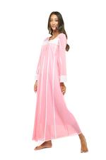 Long Voile Cotton Nightdress with Long Sleeves & embroidery - Peach