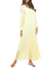 Long Voile Cotton Nightdress with Long Sleeves & embroidery - Yellow