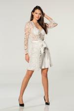 Satin & Lace Short Nightdress & Robe  Set - Ivory