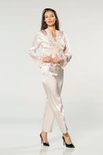 Satin & Lace Long Pyjama Set - Peach