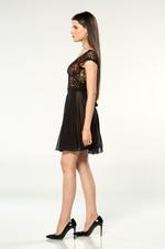 V Neckline Chiffon & Lace Short Nightdress - Black