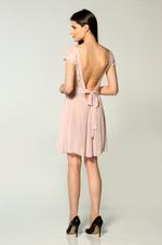 V Necklive Chiffon & Lace Short Nightdress - Rose Pink