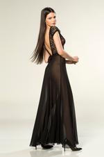 V Neckline Chiffon Long Nightdress - Black
