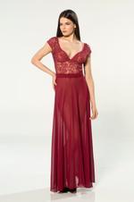 V Neckline Chiffon Long Nightdress - Bordeaux