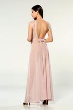V Neckline Chiffon Long Nightdress - Rose