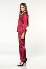 Satin & Lace 4 Piece Pyjama Set - Bordeaux