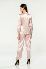 Satin & Lace 4 Piece Pyjama Set - Rose Pink