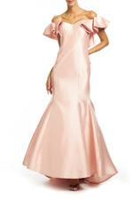 Satin Gown With Frilled Shoulder - Peach