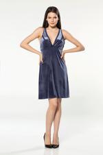 Short Velvet Nightdress - Navy Blue