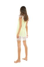 Chiffon Short Nightdress with lace neckline - Lime Green