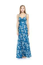 Paisley Printed Jorse Nightdress with Padded Bra - Blue
