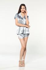 Short Saten Shirt  Pyjama - Light Blue/White